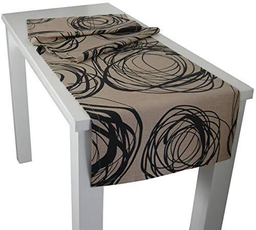 """beties """"Mystik"""" Tischläufer ca. 40x150 cm in interessanter Größenauswahl hochwertig & angenehm 100% Baumwolle Farbe Toffee-Schwarz"""