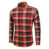 メンズロングスリーブプラッドシャツメンズコットンシャツビジネスカジュアルデイリーワークスリムエディション-スタンドカラーシャツ(レッド