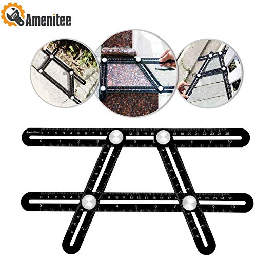 Amenitee Angle Layout Measuring Ruler-Universal Ruler - Full Metal Multi Angle Measuring Tool-Upgraded Aluminum Alloy Ruler (Black)