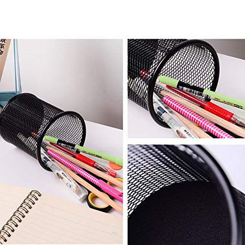[4 Pack] Pen Holder - Pencil Holder for Desk - Metal Mesh Office Desk Pen Organizer Holders - Medium Sized Black Pen Cup Pencil Cup Photo #4