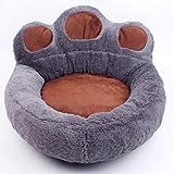 Hianiquaime Niche de Chien en Forme de Patte en PelucheMoelleux Coussin Panier Canapé-Lit Mignon pour Petit Chien Chiot Chat M en Gris
