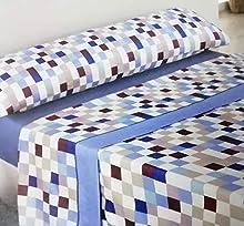 CONFORT HOME M.T. - Verano Barcelona - Juego Sábanas De Verano Lisas 3 Piezas (Azul, 135_x_200_cm (Cama 2 PLAZAS Normal))