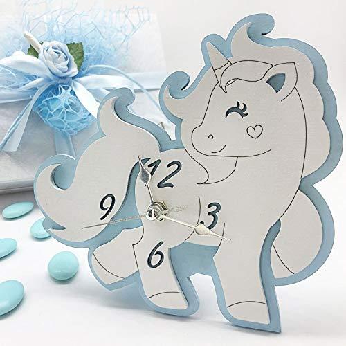 Ingrosso e Risparmio Reloj con forma de unicornio azul y blanco de madera, con manecillas plateadas, ideal como recuerdo de bautizo de niño, con caja de regalo (sin caja)