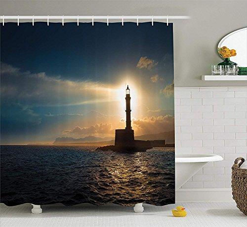 AdaCrazy Leuchtturm bei Sonnenuntergang Sonnenlicht Romantik Urlaub Touristenattraktionen Wasserlandschaft drucken Lighthouse Decor Collection Duschvorhang-Set aus Polyestergewebe Blaugrau