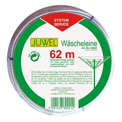 Juwel Wäscheleine 62 m (für Wäschespinnen, Leine transparent, witterungsbeständig, mit Polypropylen-Einlage) 30021
