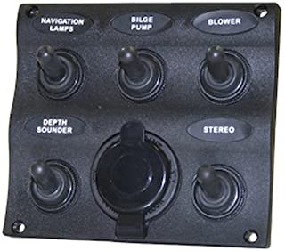 SeaSense 5001560 5 Gang Toggle Switch Panel with 12V Outlet
