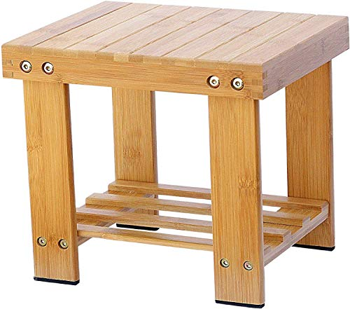 Yoassi Step Stool, Heavy Duty Bamboo Multi Purpose Step Stool&Seat with a Storage Shelf for Kids or Adults, 100% Natural Bambo (S)