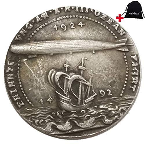 FKaiYin 1924 Historische geschnitzte große Reichsmark-Münzen, deutsche Münzen – Missing History of Preußische Münze – Europäische alte Münze + KaiKBax-Tasche – Lehrwerkzeug für Kinder