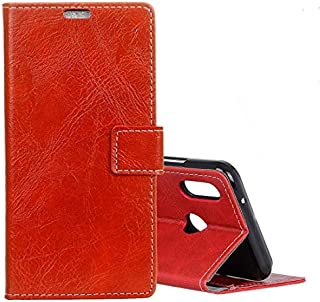 Qin Fanglin Xiaomiプレイケース、Xiaomi Mi Play用ヴィンテージクレイジーホーステクスチャ水平フリップレザーケース、財布&ホルダー&カードスロット&フォトフレーム付き