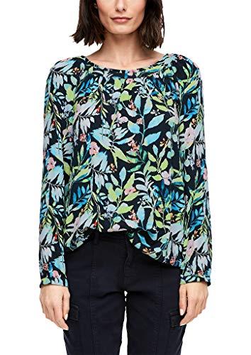 s.Oliver Damen Bluse mit floralem Muster Navy AOP 38