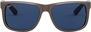 نظارة شمسية بتصميم مستطيل موديل جاستن RB4165 ماركة راي بان, (Brown Metallic on Black/Dark Blue), 51 mm