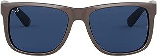 RB4165 Justin Rectangular Sunglasses, Brown Metallic On Black/Dark Blue, 55 mm