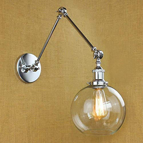 Sconce Wandlamp Global Lampenkap Verstelbare Swing 2 Arm Mini Wandlamp Klassieke Retro en Transparant Glas Zilver Indoor Verlichting Wandlampen