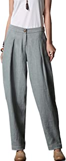 Minibee Women's Casual Linen Pants Elastic Waist Tapered Pants Trousers With Pockets