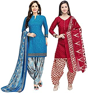 Rajnandini Women's Blue And Maroon Cotton Printed Unstitched Salwar Suit Material (Combo Of 2) (Free Size)