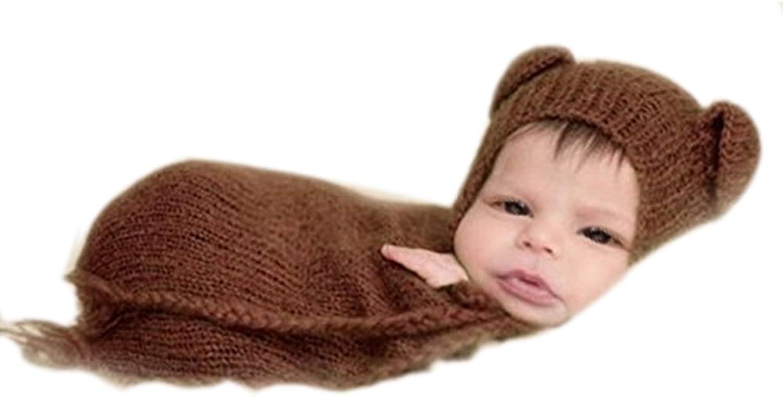 e27077c307c6f Auberllus Handmade Infant Newborn Baby Boy Knit Sleeping Bag Hat ...