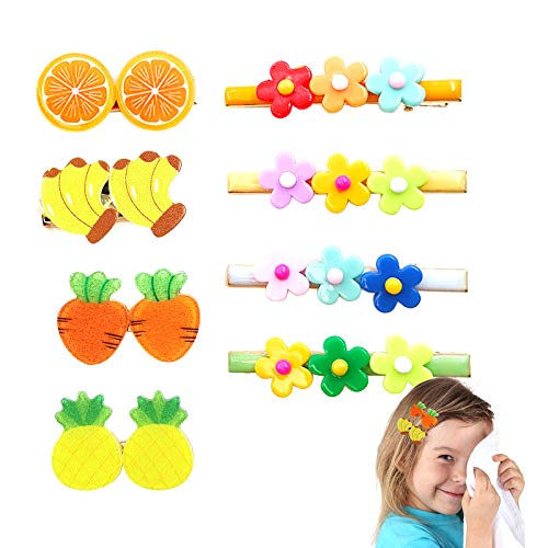 Ealicere 8 Stück Haarspangen Mädchen haarclips mädchen set Kinder Haarklammern Bunt Groß in 8 verschiedene Designs Niedlichen Frucht und Blütenformen