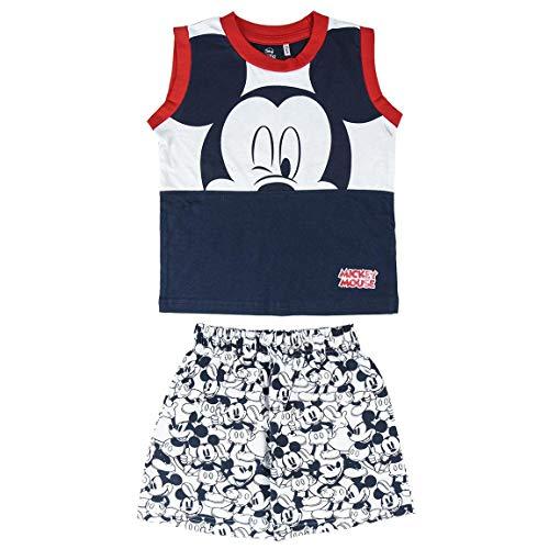 Cerdá Pijama Bebe 12 Meses de Mickey Mouse-Camiseta + Pantalon de Algodón-Color Azul Juego Unisex bebé
