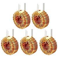 eDealMax 5ピース水平トロイド磁気インダクタ単層ワイヤ巻線50 uH 20 Aインダクタンスコイル