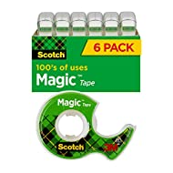 Scotch Magic Tape, 6 Rolls, Numerous Applications, Invisible, Engineered for Repairing, 3/4 x 650 Inches (6122)