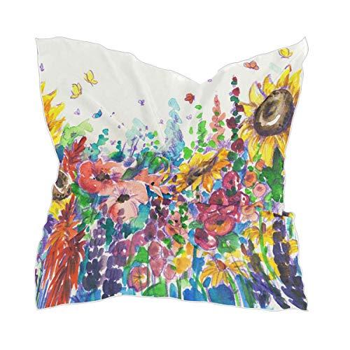 XiangHeFu Kleurrijke zonnebloemenhoofdversiering zijden sjaal lichte hoofddoek dunne transparante chiffon