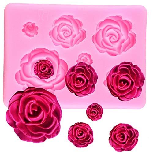 CSCZL Molde de Silicona de Flores Rosas, moldes de Chocolate para Pasteles, Herramientas de decoración de Pasteles de Boda, moldes para Hornear Pasteles de Arcilla y Caramelo con Fondant
