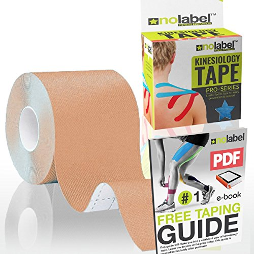 No Label Kinesiologie Tape Beige | Physio Tape | Body Tape | Sportstape | 5 cm x 5 m | Schutz + Schnelle Regeneration In Schulter Nacken Rücken Knie Knöchel & Ellenbogen | Latexfrei