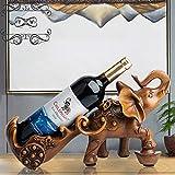 WY&WY Estantes De Vino De Encimera Organizador De Botellas De Vino Resina - Decoración del Hogar Y Regalos, Estante De Almacenamiento De Vino De Elefante, Color De Grano De Madera