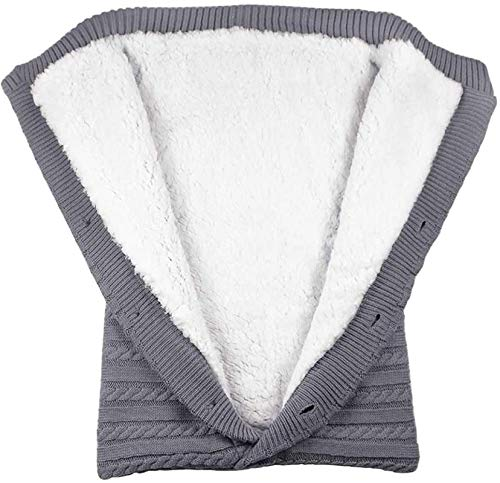 AiMoonsa Wickeldecke für Neugeborene, weicher Schlafsack für Säuglinge, warme, gemütliche und Dicke Strickdecke für Neugeborene für Kindergrill oder Jungen Gray