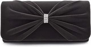 Elegant Rhinestone Bow Front Velvet Clutch Evening Bag Handbag -Diff Colors