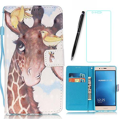 Lotuslnn Samsung Galaxy Grand Prime G530F Coque Girafe, Bleu,Dessin coloré Flip Wallet Cuir Etui Housse Case Cover pour Samsung Galaxy Grand Prime G530F -(Coque+ Stylus Stift+Screen Protector)