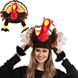 Thanksgiving Turkey Hat w/Wings Moving for Thanksgiving Trot Dress Up Party, Role Play and Carnival Cosplay Brown