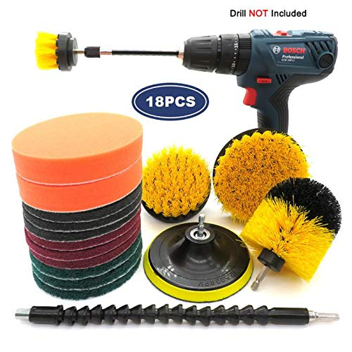 18 Pcs Drill Brush Attachment Set, Scrub Pads& Sponge, Power Scrubber Brush Cleaning Kit with Extend Long Attachment for Bathroom, Grout, Floor, Tub,Tile, Carpet, Kitchen, Autom