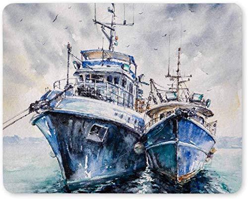 Dos Barcos de Pesca anclados en el Puerto Rectángulo Antideslizante Goma Cómodo Computadora Alfombrilla de ratón Gaming Alfombrilla para Oficina Hogar Mujer Hombre Empleado Jefe Trabajo