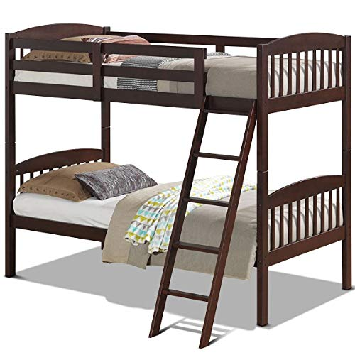 StarSun Depot Twin Over Twin Wooden Bunk Bed with Ladder in Dark Brown Finish
