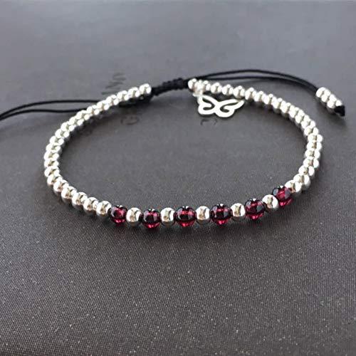 MLJSX Armband Handmade S925 Sterling Silber Glück Armband Granat Armreif Naturstein Hochwertiger Schmuck