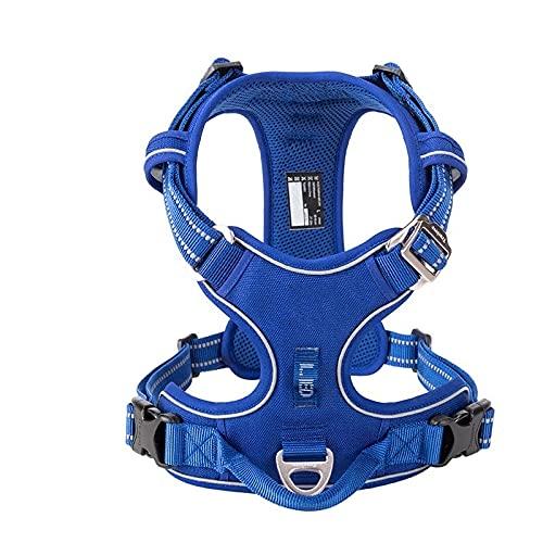 Arnés para perros Pet Reflective Nylon Dog Harness No Pull Adjustable Medium Large Naughty Dog Vest Safety Vehicular Lead Walking Runn Arnés para gatos (Color : Royal Blue, Size : Small)