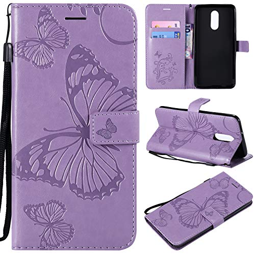 NOMO LG Stylo 4 Case, LG Q Stylus Wallet Case,LG Stylo 4 Case with Card Holders,Folio Flip Leather Butterfly Case Cover with Kickstand Phone Protective Case for LG Stylo 4 / LG Q Stylus,Light Purple
