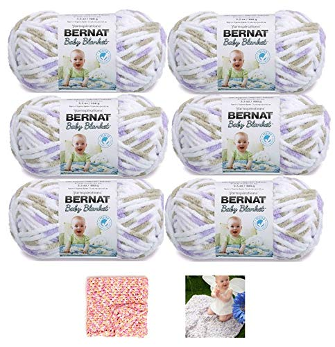 Bernat Baby Blanket Yarn - 6 Pack Bundle with Patterns (Little Lilac Dove)