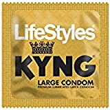 Lifestyles KYNG Premium Lubricated Large Latex Condoms Bulk [Larger Than Standard Condoms with Special Lubrication for Maximum Pleasure] - Pack of 48