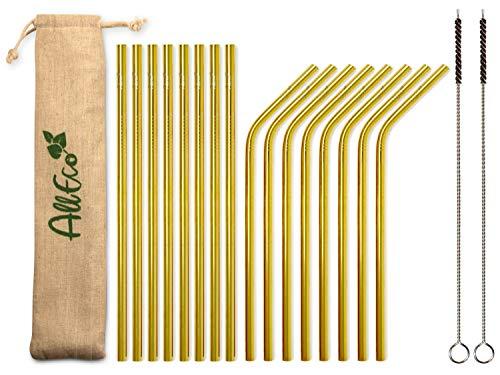 AllEco® Rostfritt stål sugrör guld återanvändbara set om 16 färgglada färger + 2 rengöringsborstar + ekologisk påse – metall sugrör roséguld svart, blå, lila, regnbåge