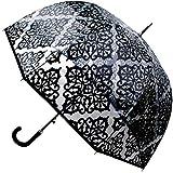 COLLAR AND CUFFS LONDON - Raro Automático - Muy Fuerte - A Prueba DE Viento - Paraguas Transparente - Alta TECNOLOGÍA para Combatir POSIBLES DAÑOS - Fibra De Vidrio - Gran Toldo - Ribete Negro