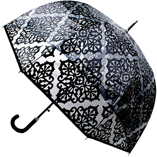 COLLAR AND CUFFS LONDON - Rare Automatic - Extra Strong Windproof - StormDefender Panoramic - Patterned Dome Umbrella - Engineered to Fight Inversion Damage - Fiberglass Ribs - Black Trim Canopy Clear