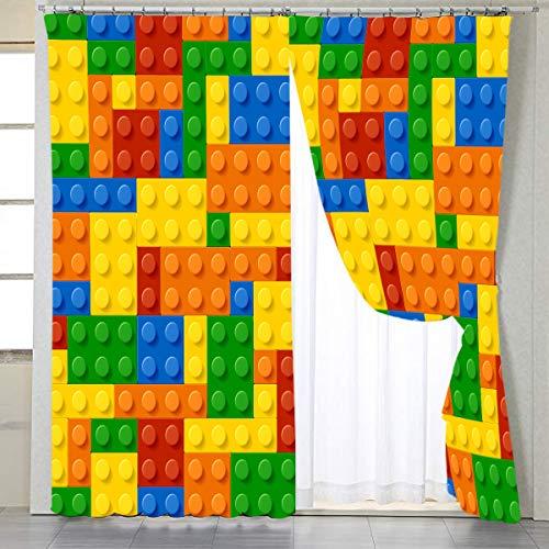 "BlessLiving Colorful Toy Printed Window Curtains Building Blocks Curtain Drapes Fun Brick 3D Design Kids Teens Girls Boys Living Room Bedroom Window Treatment Panels, 1 Panel, 42""W x 63""L, Rod Pocket"