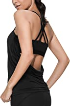 VUTRU Workout Tank Tops Built in Bra - Strappy Athletic Yoga Tops Athletic Workout Clothes 2 in 1 Tanks for Women