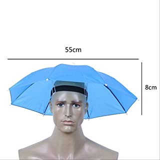 Cdrox Pesca Paraguas Sombra Sombrero Senderismo Playa Campamento del Casquillo de Headwear Plegable Protector Solar Cabeza Paraguas