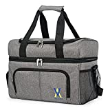 Insulated Cooler Bag - Leakproof Soft Cooler Portable Double Decker Cooler Tote, 36-Can Lunch Cooler for Trip, Picnic, Beach, Sports