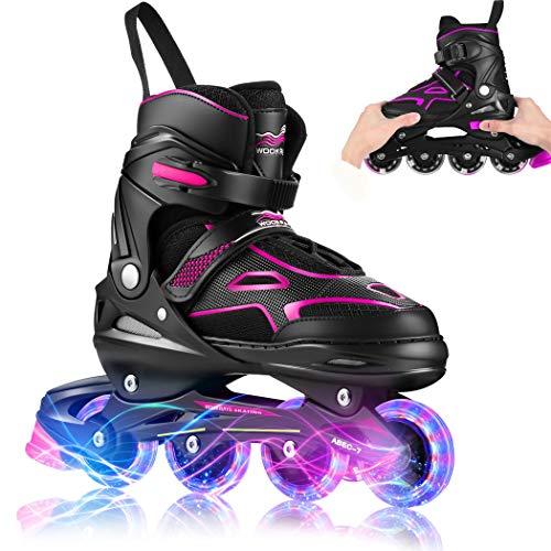 KGK Boys Girls Adjustable Inline Skates Adult with Light up Wheels, Kids Youth Men Women Children's Roller Skates Ice Skating Equipment Purple Roller Blades Skates