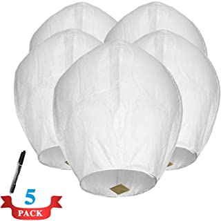 Maylai 5 Paquete Farolillos chinas blancas hechas a mano Farolillos de papel voladoras Farolillos de cielo deseadas para cumpleaños Aniversario de boda 100% biodegradable