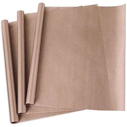 Láminas de horno prémium duraderas, de teflón, 3 unidades, 40 x 60 cm, reutilizables, resistentes al calor, antiadherentes y aptas para lavavajillas.